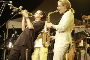 Brownman trading licks with Colleen Allen of Kalabash at Jazz Artists on the Greens 2010