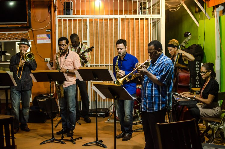 From Left to right; Aidan Chamberlin, Anthony Woodroffe, Jr., Theron Shaw, Yevgeny Dokshansky, Errol Ince, Caitlym Kamminga and Alea Nicholson. Hidden, Josh Watkins on drums.  Photo credit: Maria Nunes/TONY PAUL