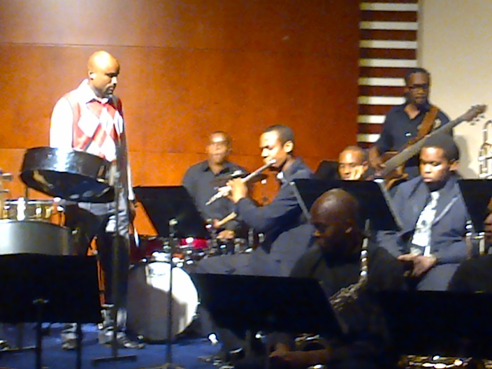 AD Instrumentalists featuring Mikhail Salcedo on steelpan and Rodney Alexander on bass.