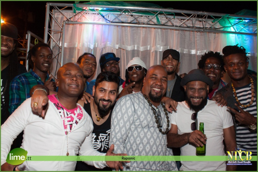 Rapsonic artists. Back row, l-r: Mark Hardy, Teja Tizzy, Ace (3Suns), Scarface (Asylum Family) KMC, Ataklan, Ozy Merrique, Olatunji. Front row, l-r: Akinde (Kindred), Lazabeam, Omari  (Kindred), AndyVenture. Photo by John Francis. © 2015 by Lime.tt. All rights reserved by Lime.tt. Used by permission.