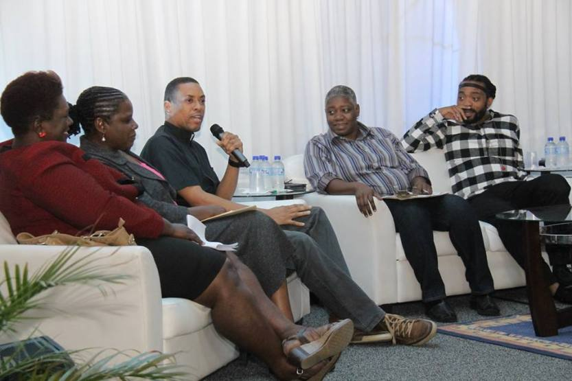 Part of panel at ONSTAGE discussion, l-r: Laura Dowrich-Phillips,  Sr. Theresa Vialva, Fr. Steve Ransome, Franka Philip, and Machel Montano. Photo by Clyde Lewis.  © 2015, Guardian Media Ltd. All rights reserved by Guardian Media Ltd.