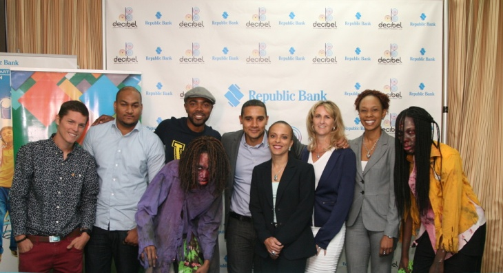"""From l-r: DeciBel's Dream Big Initiative winners Oliver Milne and Kasey Phillips, media personality Jason Williams, """"Zombie 1"""", Simon Baptiste, Lisa McCarthy, Carolyn Pasea-Pogson of QUestion Mark, Camille Campbell, """"Zombie 2"""". Photo by David Wears. © 2015 David Wears. All Rights Reserved."""