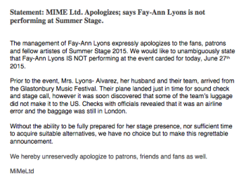 Statement from MIME Ltd re Fay Ann not performing at SummerStage