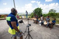 Recording Desmond Noel, Rato and sons. 3 generations of Bois Drummers. © Maria Nunes